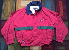 Vintage Nautica J Class Sailing Jacket 90s Full Zip XXL Red Hooded Flags Green #Nautica #BasicJacket