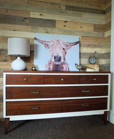 Mid Century Modern Vintage Dresser in Two-Tone with White frame and natural wood, refinished drawers. By Cotton Seed Design for Carver Junk Company | Minneapolis Furniture Refinishing