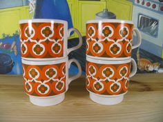Set of 4 Staffordshire Coffee Cups