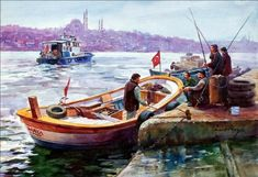 omer muz – halicte balikcilar – Vehicles is art Watercolor Landscape, Watercolor Paintings, Seaside Theme, Oil Painting Pictures, Boat Painting, Turkish Art, Z Arts, Art Studies, Portrait Art
