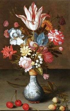 Still Life of a 'Semper Augustus' Tulip, etc. Balthasar van der Ast circa 1624-1625