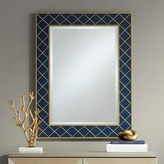 Tarim 27 And Three Quarter Inch X 36 Inch Blue And Gold Rectangular Mirror Foyer Mirror, Diy Mirror, Blue And Gold Living Room, Transitional Wall Mirrors, Starburst Mirror, Blue Mirrors, Beveled Glass, Beautiful Bathrooms, Lamps