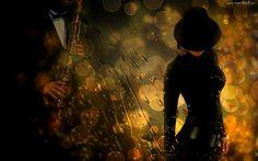 Kobieta, Kapelusz, Saksofon, Muzyka, Deszcz