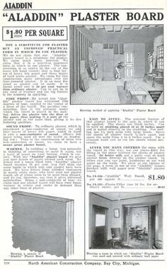 "Drywall--in 1916! ""Plaster board"" from the Aladdin 1916 furnishing catalog."
