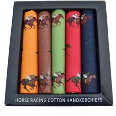 A statement yet classic set of handkerchiefs, these luxury horse racing handkerchiefs from Soprano feature racing horses and come in a pack of Equestrian Gifts, Handkerchiefs, Horse Racing, Horses, Luxury, Classic, Color, Derby, Colour