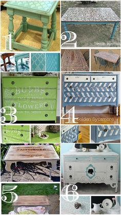 DIY Painted furniture ideas. @Rebecca Feldman... maybe you can help me make one of the side cabinets look like #3