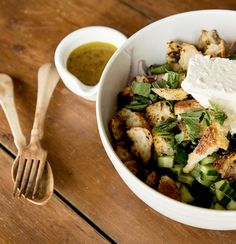 Greek Salad with croutons and purple kale