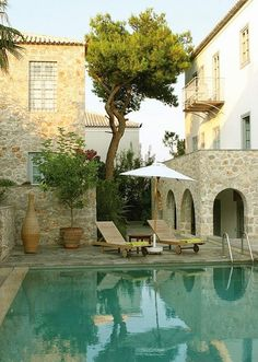 House in Spetses island, Greece- Pool. Beautiful Pools, Beautiful Places, Beautiful Life, Beautiful Landscapes, Exterior Design, Interior And Exterior, Villa, Dream Pools, Cool Pools