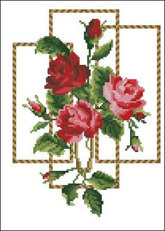 "Free cross-stitch pattern ""Red Roses"" 