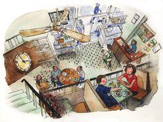 """中國冰室@旺角 China Cafe @Mong KokIllustrated by Mitsuko OnoderaFrom : """"香港路地的裏グルメ""""(世界文化社・刊)(watercolors, colored pencils)"""