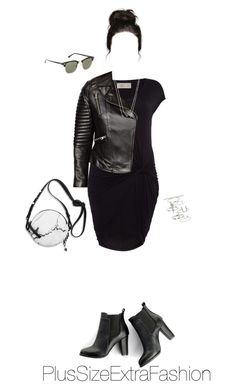 Plus Size Spring Party Outfit: Minimalism in Black by plussizeextrafashion on Polyvore featuring Label Lab, ASOS Curve, SWEET MANGO, Topshop, NLY Accessories, Ray-Ban and Eddie Borgo