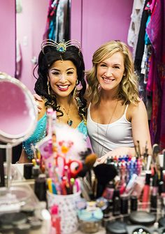 "Courtney Reed who plays Princess Jasmine and her  dresser Jackie Gehrt for Disney's ""Aladdin"" on Broadway"