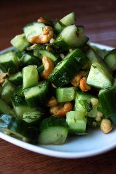 Thai Inspired Cucumber Cashew Salad    2 tbsp lime juice  1 tsp soy sauce  1 tbsp honey (21g)  1/2 tsp tabasco  1/2 tsp minced garlic  1 large English/Fancy cucumber  1/4 cup mint chopped  1oz cashews (28g)