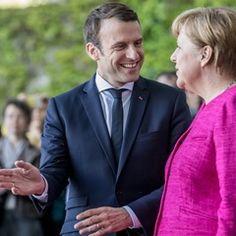 French President Emmanuel Macron meets with German Chancellor Angela Merkel in Berlin