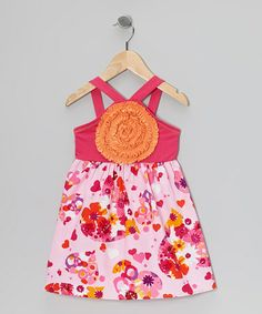 This Fuchsia & Orange Floral Blooming Rose Dress - Toddler is perfect! #zulilyfinds   G's fav colors.