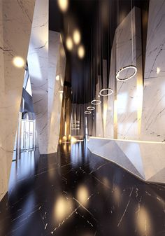 More Fabrics loves this conceptual hallway, Black White and Gold is always a winner!