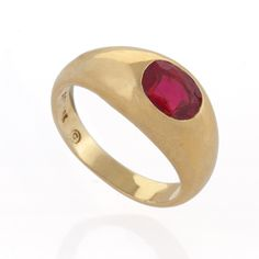 Cushion Cut Ruby and 18 karat Gold Gypsy Ring Rings Jewelry Antique Jewelry Tiffany Lamps Art Nouveau