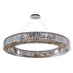 Rondelle Chrome 18-Light Round Pendant with Firenze Clear Crystal