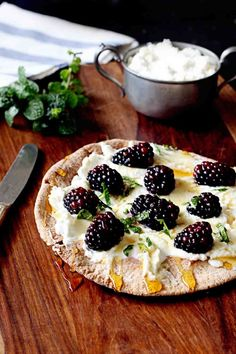 Loving this quick and healthy snack! Blackberry and Ricotta Pita Pizza