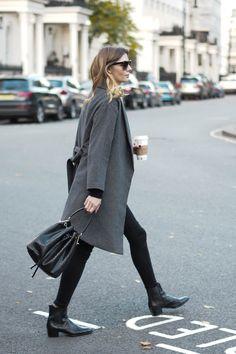 casual winter outfit - grey coat, black skinny jeans, black croc Saint Laurent 'Wyatt' chelsea ankle boots, croc bucket bag