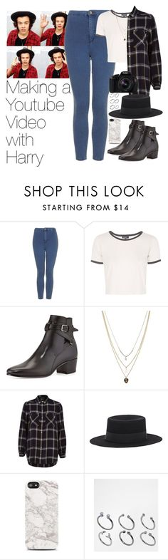 """""""Making a Youtube Video with Harry"""" by zarryalmighty ❤ liked on Polyvore featuring Topshop, Yves Saint Laurent, Orelia, River Island, Eos, Samsung, ASOS, OneDirection, harrystyles and onedirectionoutfits"""