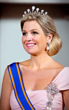 Queen Máxima of the Netherlands wearing the Antique Pearl Tiara.