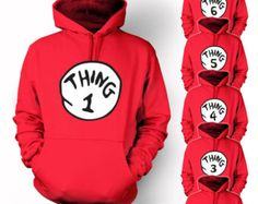 Thing 1 2 3 Hoodie Cat in the Hat Halloween Costume Hooded Sweatshirts Youth Adult sizes S-3XL