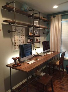 Are you struggling in finding ideas to build your own DIY computer desk? Well, if you find this article, you're in luck! Because we have compiled a list of 50 Favorite DIY Computer Desk Design Ideas and Decor from… Continue Reading → Mesa Home Office, Home Office Desks, Home Office Furniture, Office Decor, Office Ideas, Diy Office Desk, Office Organization, Desk Dyi, L Shaped Office Desk