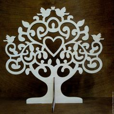 Laser cut tree with heart and birds