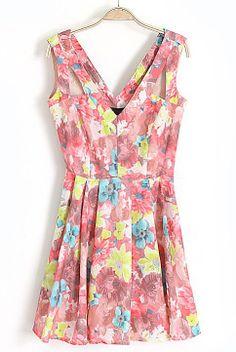 Pink V-neck Sleeveless Florals Print Flare Dress - Sheinside.com
