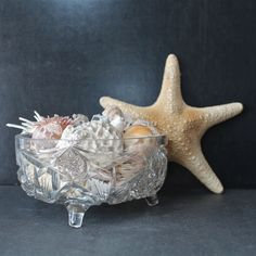 Vintage Cut Crystal Bowl with Star and Pinwheel Design.