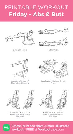 Friday - Abs & Butt – illustrated exercise plan created at WorkoutLabs.com • Click for a printable PDF and to build your own #customworkout
