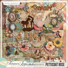 Digital Scrapbook Kit,  Petticoat Rose by ForeverJoy Designs