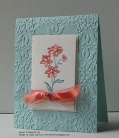 hand crafted card ... Simply Soft by Eileen LeFevre  ... rich embossing folder texture on base ... small panel with flower and knotted ribbon wrap ... lovely!