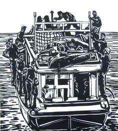 Untitled (The Journey) 2010  Linocut on Hahnemuhle. Image 100 x 500 mm - Paper 250 x 600 mm