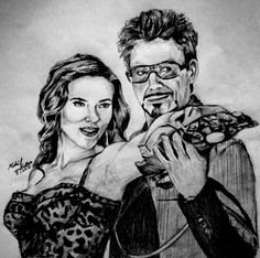 Scarlett johansson and Robert Downey Junior drawing on A4 Paper 2015 #ironman