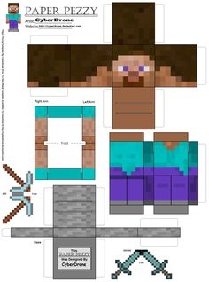 "Giant Minecraft Paper cutouts creeper | ... "" Steves"" from the papercraft plan we found online from Paper Pe zzy"