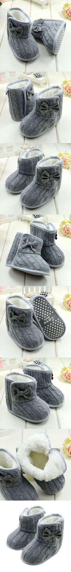 DZT1968® Baby Girl Soft Anti Slip Sole Knit Cotton Bowknot Shoes Snow Boots Socks (6~12 Months, Gray)