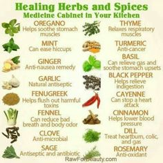 HERBOLOGY: Healing Herbs and Spices chart for a simple medicine cabinet in your kitchen. Good for botany/herbalism/Herbology. Natural Health Remedies, Natural Cures, Herbal Remedies, Natural Healing, Natural Treatments, Holistic Remedies, Natural Foods, Natural Beauty, Holistic Healing