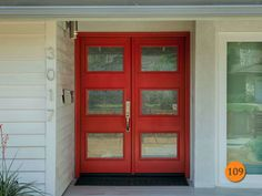 """Modern Style 5 Ft / 6/8 Fiberglass Double Doors. Therma Tru """"ARI 3-Lite""""with Rain Glass. Smooth skin painted Engine Red. Installed in City of Orange, CA."""