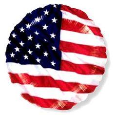 Un genial globo de 45 cms de diámetro, redondo, de foil, metalizado y con la bandera de Estados Unidos ondeando ... genial, eh? preparado para hinchar con helio o con un inflador (pero ten en cuenta que no subirá)