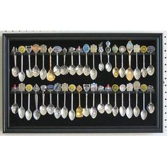 40 Spoon Display Case Cabinet Holder Rack with Glass Door Wall Mounted -BLACK Finish (SP04-BL) - Just take a close look at how superior our products are in quality! A great way to proudly display your spoon collections. This spoon display case/rack is made from solid wood. Black matted background to create a lovely contrast for spoon display. Repeatedly sanded to achieve super fine smooth surface and elegant appearance. Brass hinges door latches and wall brackets to hang (wall mounted)…