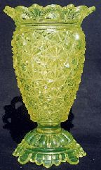 *BELMONT #100 aka: Daisy + Button w/ scalloped edge was made by: Belmont Glass works, c.1886, this piece is a Celery vase.  EAPG INC Museum Vaseline Rarities