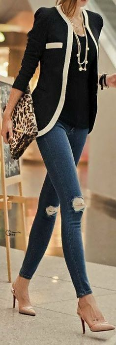 black and white jacket pearls and skinny distressed jeans leopard print bag and nude heels