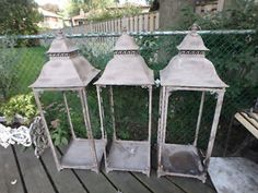 Great decorator lanterns.  Imagine with Christmas Garland.  Or perhaps garden structure.  Or just use for large candles around the patio.  Storage unit find.  SOLD