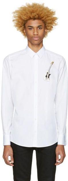 Dolce & Gabbana White Embroidered Guitar Shirt