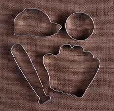 Use our baseball cookie cutters set with baseball cap, baseball, bat and baseball mitt cookie cutters to make fun sugar cookies! To decorate your sweet confections check out our large selection of spr Baseball Cookies, Baseball Shoes, Baseball Mom, Baseball Lineup, Baseball Snacks, Tigers Baseball, Baseball Season, Baseball Jerseys, Baseball Caps