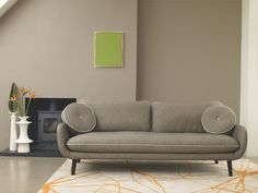 The striking Starfloral large grey wool rug features a graphic, hand-drawn flower design in vibrant orange, combined with an elegant grey background for maximum contrast. Buy now at Habitat UK. Purple Fabric, Grey Fabric, Happy New Home, Rug Inspiration, 2 Seater Sofa, Wool Rug, Love Seat, New Homes, Cushions