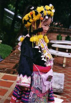 Thailand Chiang Mai Young Girl In Tribal Dress