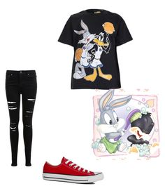 """""""Looney toons"""" by lauren-mahone1212 ❤ liked on Polyvore featuring Miss Selfridge and Converse"""